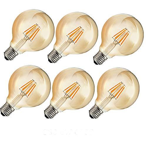 OUGEER 6er G80 E27 6W Glühbirne LED Edison Lampe Vintage Retro Stil Filament Birne Ersatz 60W,2300K Warmweiß,AC 220V-240V 600LM,Nicht dimmbar