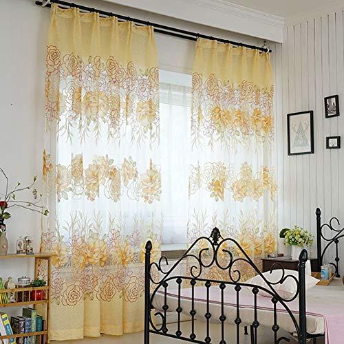 Nileco verbrande bloemen slierten gordijnen, half black-out gordijn tule raam drapiert voor woonkamer slaapkamer eenvoudige black-out Valance 1 stuks crème kleuren W250 * h270 cm (98 * 106inch)