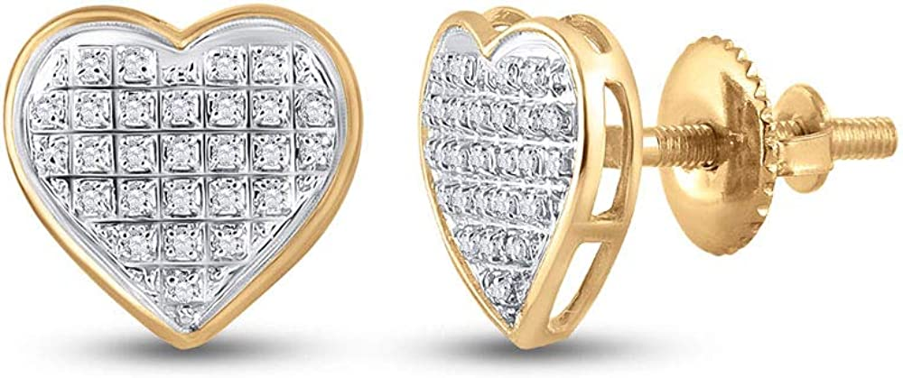 Indefinitely Ranking TOP2 10kt Yellow Gold Womens Round Diamond 6 Earrings Cttw Heart 1