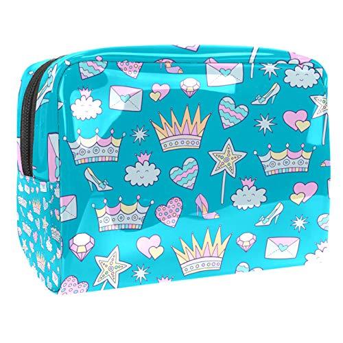 Bolsa de maquillaje portátil con cremallera bolsa de aseo de viaje para las mujeres práctico almacenamiento cosmético bolsa corona lindos elementos patrón