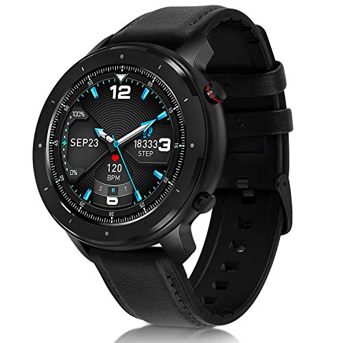 Fullmosa Smartwatch für iOS Android Handy, Fitnessuhr Herren Damen mit Schrittzähler, Schwarz Smart Armbanduhr, IP68 Wasserdicht Fitness Tracker mit Pulsuhren, Runder Sportuhr mit Schlafmonitor