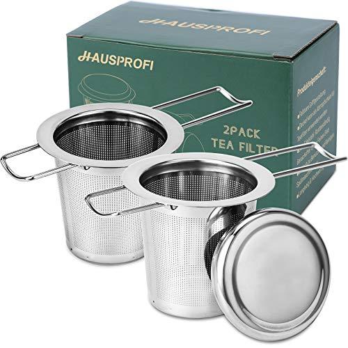 HAUSPROFI 2 Stück Teesieb Teefilter und Deckel/Abtropfschale, 304 Edelstahl Tee-Sieb für losen Tee, Faltbare Griffgestaltung Passend für die Meisten Tee-Tassen und Tee-Schalen