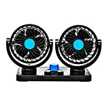 Trest Car Fan 12V 360 Degree Rotatable Dual Head 2 Speed Quiet Strong