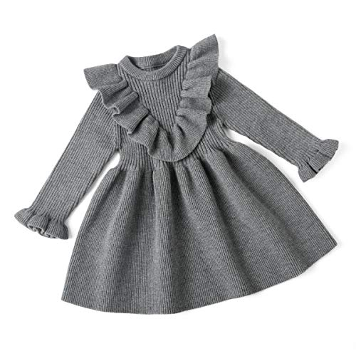 Curipeer Baby Girl Dresses Newborn for Fall Casual Ruffled Dress Gray 18 Months