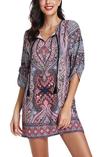 Damen-Tunika, Bohemisches Muster, V-Ausschnitt, lässiges Kleid im Ethno-Stil, Sommer-Tunika Gr. Small, #22