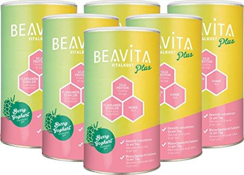 BEAVITA Vitalkost Plus - 6x 572g Himbeer-Joghurt Pulver - Diät Shake für unbeschwertes Abnehmen - 4 Wochen Vorratspaket mit Diätplan - Gewicht reduzieren - Laktosefrei - vitaminreicher Mahlzeitersatz