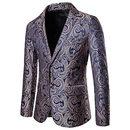 Mr.BaoLong&Miss.GO Men Fashion Suit Jacket Men Suit Casual Big Cashew Flower Suit Jacket Jacket Men Small Suit Golden