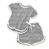 TWIFER_été_ Toddler Kids bébé Fille garçon rayé Tops Shorts Pantalon 2PCS Vêtements Set_1 2 3 4 5 6 7 9 Ans Les magasins Ont