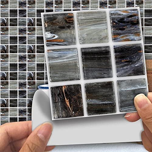 humorous 18 pegatinas para azulejos con mosaico, autoadhesivas, para manualidades, mini espejos de cristal, para decoración de manualidades, pegatinas de pared para el hogar KTV (10 x 10 cm)