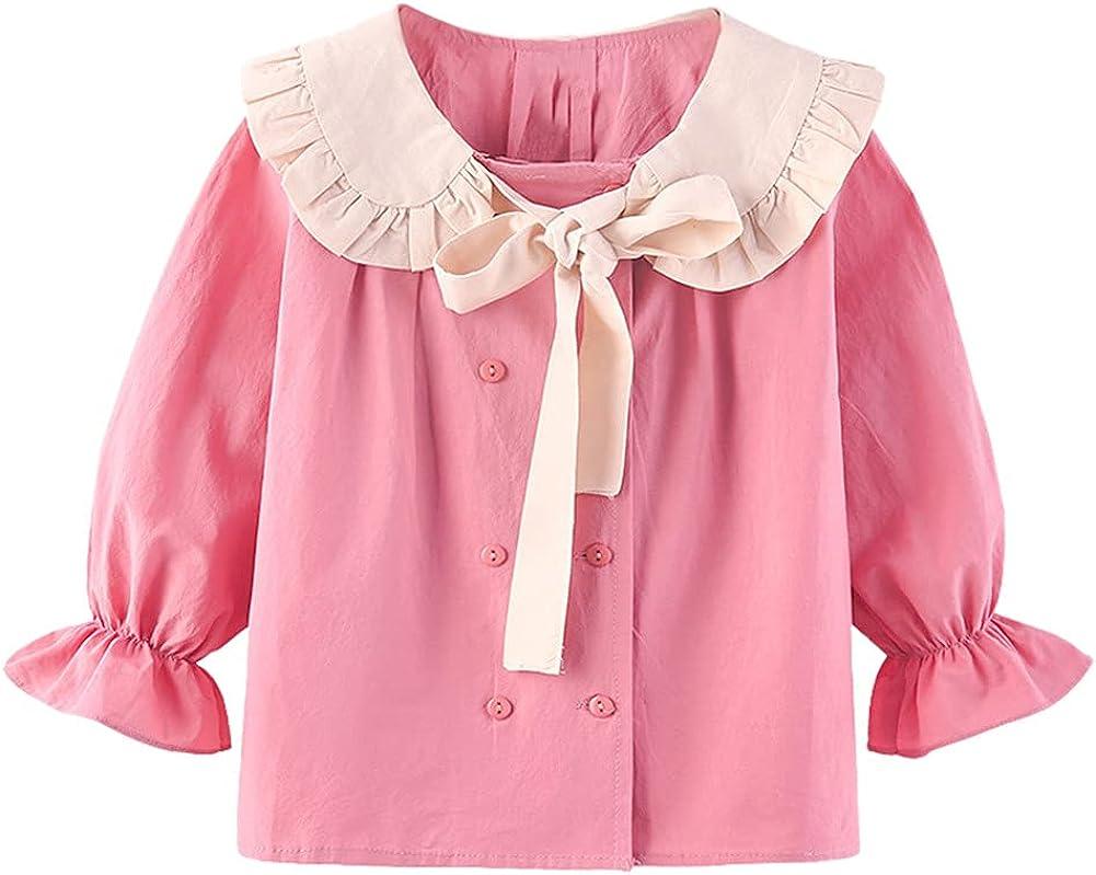 Mud Kingdom Little Girls Long Sleeve Shirt Peter Pan Collar Cute Bow
