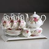 EURYTKS Porcelain Tea Sets English afternoon tea black tea set ceramic coffee cup set European bone china tea set 15pcs Porcelain coffee sets (Color : 01 Set)