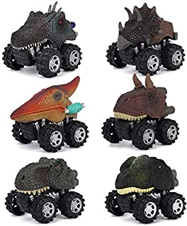 6 Pack Dino Cars Toys Pull Back Dinosaur Cars with Big Tire Wheel for Kids Toddlers Gifts