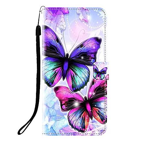 Sunrive Kompatibel mit Wileyfox Swift 2 X Hülle,Magnetisch Schaltfläche Ledertasche Schutzhülle Etui Leder Hülle Handyhülle Tasche Schalen Lederhülle MEHRWEG(Q Schmetterling)