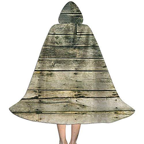 KDU Mode Heks Mantel, Hout Plank Muur Houten Vlekken Kids Hooded Stijlvolle Printed Heks Capes Voor Halloween Kerstfeest 88cm