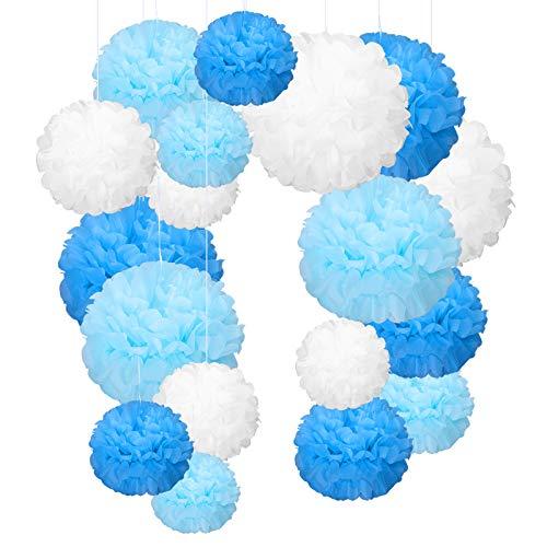 YBwanli 24er Blau Deko Pompons, für HochzeitDeko, Einschulung deko, Geburtstagsfeier, Taufe Konfirmation Deko Mädchen, Kommunion Dekoration, Valentinstag(Hellblau, Blau, Weiß)