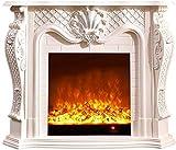 KAUTO Chimenea electrónica, repisa Decorativa de TV Blanca, Efecto de Llama dinámico 3D, Potencia de visualización de 6 W (120 * 33 * 102 CM)