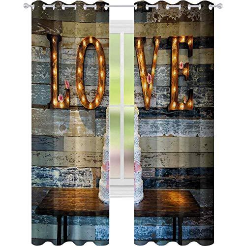 Cortinas para dormitorio, pastel de boda con palabra amor San Valentín como sinage sobre fondo de madera, panel de cortina de ventana de 52 x 95 para guardería, multicolor