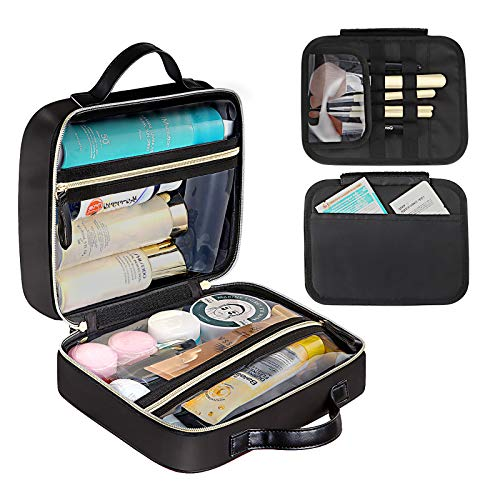 DIMJ Makeup Bag, Travel Cosmetic Bag Double-sided Makeup Case Organizer with Zipper Portable Artist Storage Bag Waterproof Storage Case for Cosmetics, Brushes, Toiletry (black)