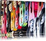 Pixxprint Bunte Gitarren auf Leinwand, XXL riesige Bilder