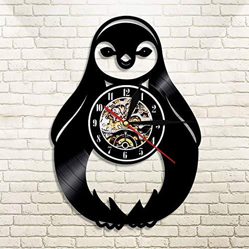 FDGFDG Pingüino Desgin Discos de Vinilo Recorte LP Relojes de Pared Animales Retroiluminación Led Silueta Icono Reloj de Pared