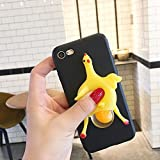 3D Funny Cute Handmade Soft Sillicone Squeeze Chicken Lay Egg Stress Relieve Soft Silicone Relax Poke Squishy Toys Animals Case for Samsung Galaxy C5 Pro(Black)