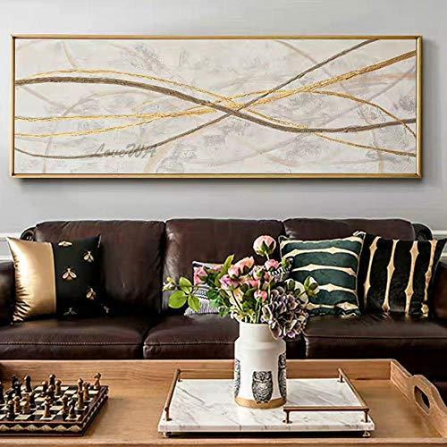 ZNYB Cuadros Modernos En Lienzo Arte de líneas Doradas Pintado a Mano Pintura al óleo Grande Lienzo Pintura de Pared Arte Arte Dorado Pinturas al óleo Cuadros de Pared de Sala de Estar