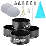 4 Inch Springform Cake Pans - Non-stick Round Bakeware Cake Pan with Cake Decorations for Home Baking