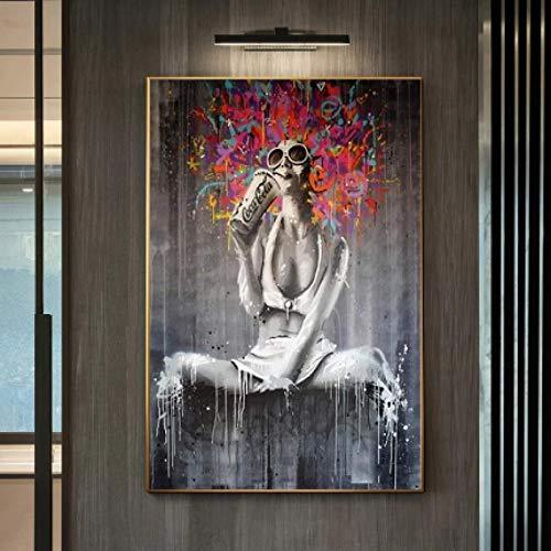 FGVB Sexy Afro Girl Pintura en Lienzo Graffiti Street Art Posters e Impresiones Cuadro de Arte de Pared para decoración de Sala de Estar -50 * 70cm sin Marco