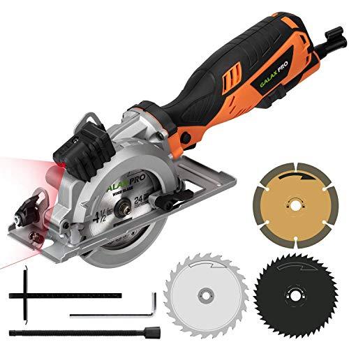 GALAX PRO Mini sierra circular, 705 W, 3500 rpm, sierra eléctrica, guía láser, corte máximo 42,8 mm (90°), 28 mm (45°), sistema de aspiración para el polvo, guardia paralela a la hoja