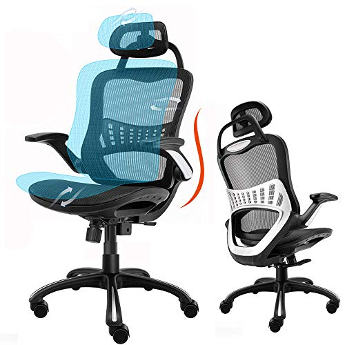 High Back Ergonomic Adjustable Office Chair with Breathable Mesh Ergonomic Office Chair (N-Black)
