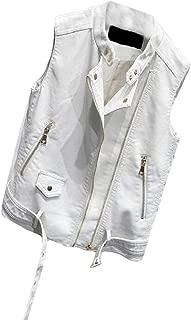 Macondoo Women Slim Coat Full Zipper Faux Leather Biker Vest