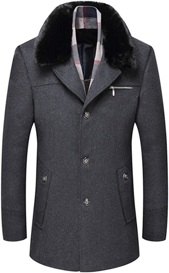 Thick Warm Scarf Collar Fashion Design Mens Jacket Wool Coat Men Busines Mens Wool Jackets