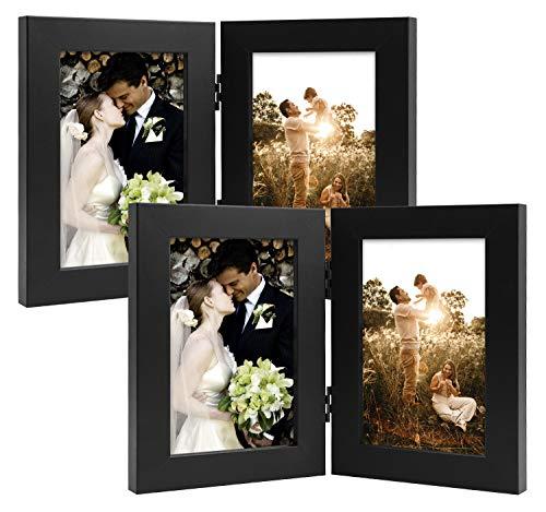 Golden State Art Dekorativer Bilderrahmen mit Klapptisch und 2 vertikalen Öffnungen aus Echtglas 4x6 (2-Pack) schwarz