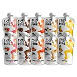 Fuel For Fire - Variety Pack - 5 Flavors (10 Pack) Fruit & Protein Smoothie Squeeze Pouch | Perfect for Workouts, Kids, Snacking - Gluten Free, Soy Free, Kosher (4.5 ounce pouches)