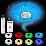 KUNMEI Lámpara de Techo LED, Lámpara de Música con Parlantes Bluetooth y Control Remoto, Luz Techo de Música RGB Ajustable con Cambio de Color para Habitación de Niños Baño Sala de Estar