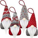 4 Piezas Adornos Colgante de Gnomos de Árbol de Navidad Sombrero Tomte GNOME Sueco Hecho a Mano Adornos Barba Santa Escandinavo de Felpa para Decoración Hogar Chimenea Árbol de Navidad