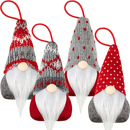 Skylety 4 Pieces Christmas Tree Hanging Gnomes Ornaments Handmade Swedish Tomte Gnome Hat Plush Scandinavian Santa Beard Ornaments for Christmas Tree Fireplace Home Decor