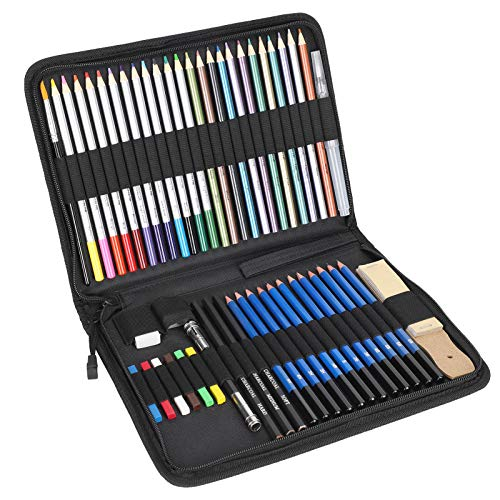 Lápices de colores, juego de lápices de dibujo escolar, kit profesional de lápices de nailon ecológico de 51 piezas, para estudiantes aficionados al dibujo