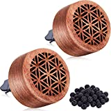 2 Pieces Essential Oil Car Diffuser Wooden Flower Car Diffuser Locket Mini Portable Car Aromatherapy Diffuser Vent Clip with Lava Stones for Car (Cute Style)