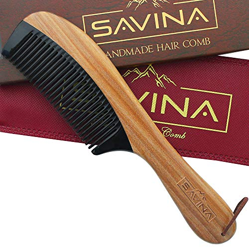 Wide Tooth Comb - 8.6' Big Size Wooden Horn Hair Comb by Savina, Anti Static Detangling Comb...