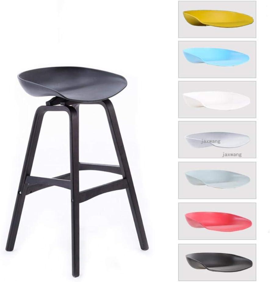 WYB Chaise de Bar en Bois Massif en Plastique, Un Noir 75cm A Light Grey 75cm