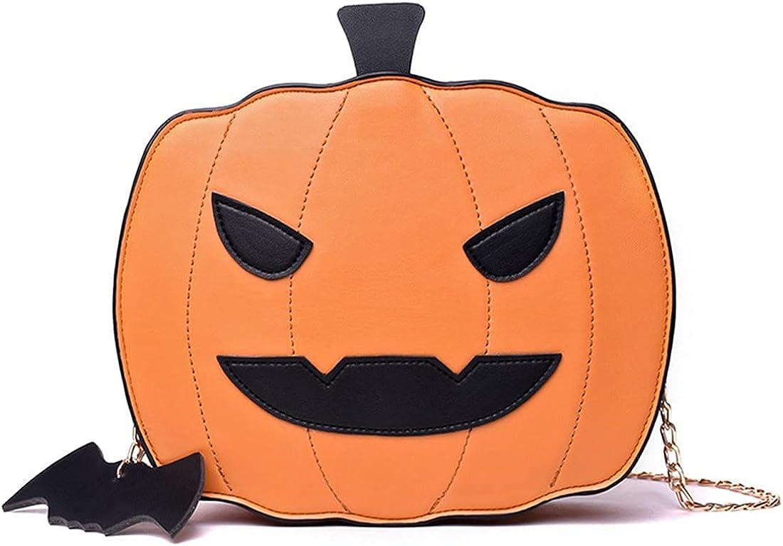 JNKET Halloween Pumpkin Shoulder Bag PU Leather Chain Crossbody Bags for Women