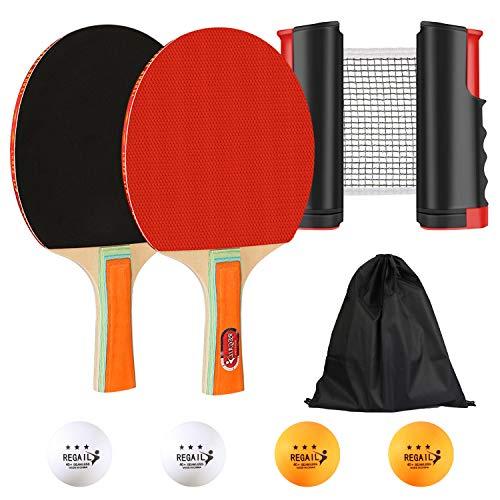 Redmoo Tragbare Tischtennis-Sets, 2 Tischtennisschläger/Schläger + Ausziehbare Tischtennisnetz + 4 Bälle, Tischtennisspiel Verstellbare Länge Passt auf Jeden Tisch Tischtennis-Sets
