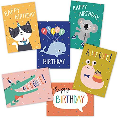 6 Geburtstagskarten für Kinder | Glückwunschkarten | Set aus 6 Postkarten | Tierpostkarten ohne Umschlag