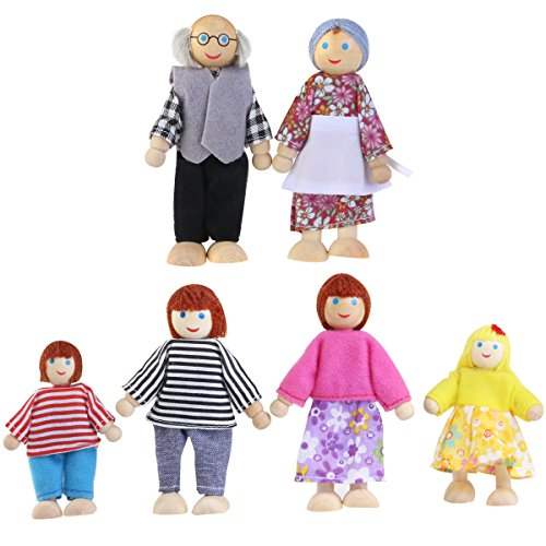 NUOLUX Familie Comic-Puppen-Spielzeug aus Holz, für Kinder, zum Spielen, Zuhause, Geschenk, 6 Stück (Random Farbe)
