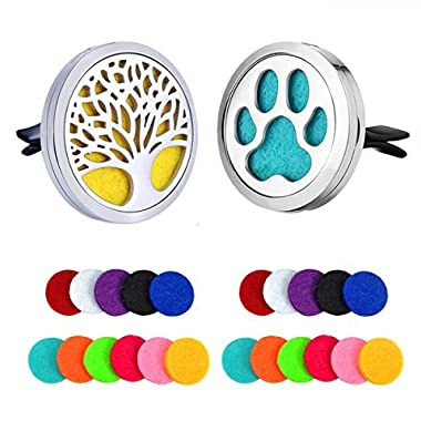 2-Pack Car Essential Oil Diffuser Locket Air Freshener Stainless Steel Home Aromatherapy Diffuser Perfume Magnetic Lockets Car Vent Clip Diffuser Dog Paw and Tree 32Pcs Refill Pads (Plain Paw + Tree)