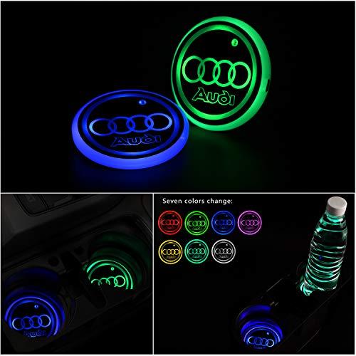 Interestingcar [Verbesserte Version LED Auto Getränkehalter Lichter, LED Shiny Wasser Tasse Matte Getränke Coaster Eingebautes Licht 7 Farben Ladematte Atmosphäre Lampe 2pcs (fit A-UDI)