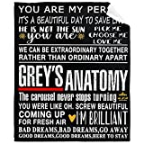 Grey's TV Anatomy Quote Collage Blanket Super Lightweight Throw Soft Summer Quilt Warm Winter Sheet for Bed Couch Sofa 80'x60' Queen for Couple