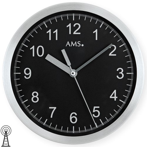 AMS 5911 Wanduhr Funk Metallgehäuse aus gebürstetem Aluminium