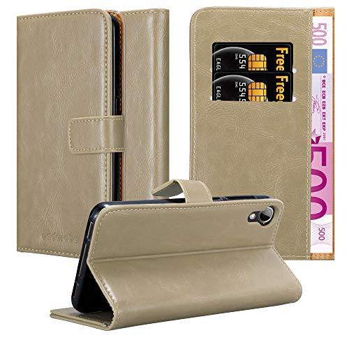 Cadorabo Hülle für HTC Desire 10 Lifestyle/Desire 825 in Cappuccino BRAUN – Handyhülle mit Magnetverschluss, Standfunktion & Kartenfach – Hülle Cover Schutzhülle Etui Tasche Book Klapp Style
